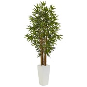 Nearly Natural 5' Bamboo Tree in White Tower Planter (5812)