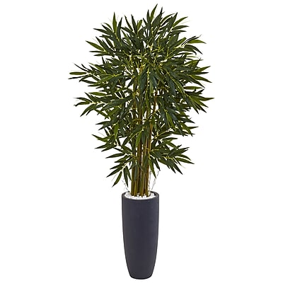 Nearly Natural 6.5' Bamboo Tree in Gray Cylinder Planter (5813)