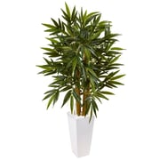 Nearly Natural 4' Bamboo Tree in White Tower Planter (5815)
