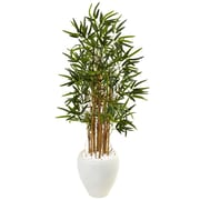 Nearly Natural 4' Bamboo Tree in White Oval Planter (5816)