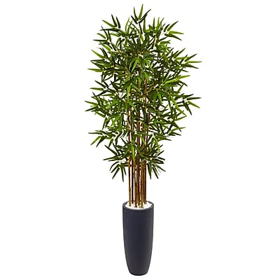 Nearly Natural 5' Bamboo Tree in Gray Cylinder Planter (5818)