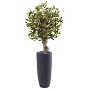 Nearly Natural 3.5' Olive Tree in Gray Cylinder Planter (5827)