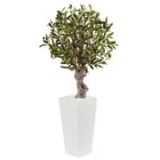Nearly Natural 3.5' Olive Tree in White Tower Planter (5831)