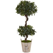 Nearly Natural 4.5' Sweet Bay Double Topiary Tree in Farmhouse Planter (5842)