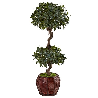 Nearly Natural 4.5' Sweet Bay Double Topiary Tree in Round Wood Planter (5843)