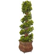 Nearly Natural 4' English Ivy Spiral Tree in Metal Planter UV Resistant, Indoor/Outdoor (5856)
