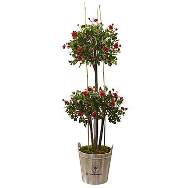 Nearly Natural 5.5' Rose Topiary Tree with Farmhouse Planter (5945)