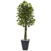 Nearly Natural 6.5' Ficus Tree with Slate Planter UV Resistant (5948)