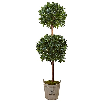 Nearly Natural 6' Double Ball Topiary Tree with European Barrel Planter (5958)