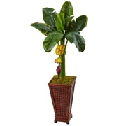 Nearly Natural 3.5'H  Banana Tree in Wooden Planter (5959)