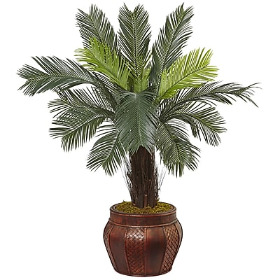 Nearly Natural 3.5'H Cycas Tree in Wood Planter (5970)