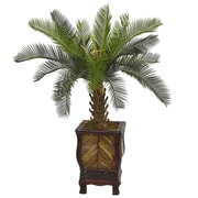 Nearly Natural 3'H Cycas Tree in Wood Planter (5972)