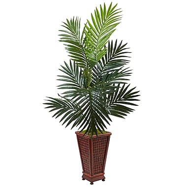 Nearly Natural 4.5' Kentia Palm Tree in Decorative Wood Planter (5984)