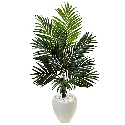 Nearly Natural 4.5'H Kentia Palm Tree in White Oval Planter (5988)