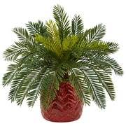 Nearly Natural Cycas in Red Ceramic Planter (6307)