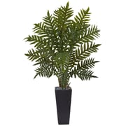 Nearly Natural 4.5' Evergreen Plant in Black Planter  (6314)