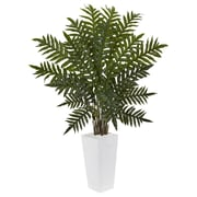 Nearly Natural 4.5' Evergreen Plant in White Tower Planter (6318)