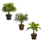 Nearly Natural Assorted Mini Palm Trees in Planter, Set of 3 (6325-S3)