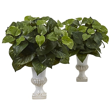 Nearly Natural Pothos Silk Plant with Urn (Set of 2) (6873-S2)