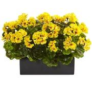 Nearly Natural Geranium in Rectangular Planter UV Resistant, Indoor/Outdoor (6949-YL)