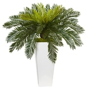 Nearly Natural Cycus in White Planter (6951)