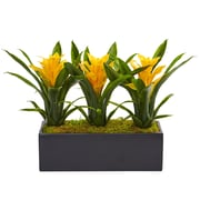 Nearly Natural Bromeliads in Rectangular Planter (6953-YL)