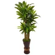 Nearly Natural 5' Cornstalk Dracaena Plant in Wooden Planter (6957)