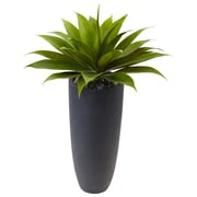 Nearly Natural Agave in Gray Cylinder Planter (6960)
