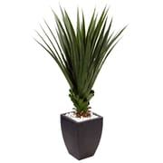 Nearly Natural 4.5' Spiked Agave in Black Planter  (6964)