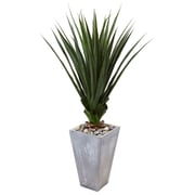 Nearly Natural Spiked Agave in Cement Planter (6967)