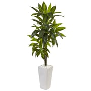 Nearly Natural 3' Dracaena Plant in White Tower Planter  (6969)