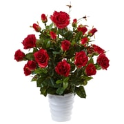 Nearly Natural Rose Bush in Swirl Planter (6984-RD)