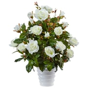 Nearly Natural Rose Bush in Swirl Planter (6984-WH)