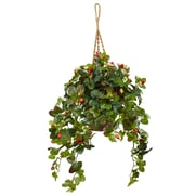 Nearly Natural Strawberry Bush in Hanging Basket (6987)