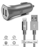Apple Certified Lightning Cable with Dual USB High Speed Car Charger for iPhone (CAR48MFI4FT-GRY)