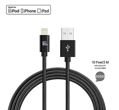 Apple Certified Durable Lightning Cable for iPhone, iPad, 10ft Black (LGHTMFI10FT-BLK)