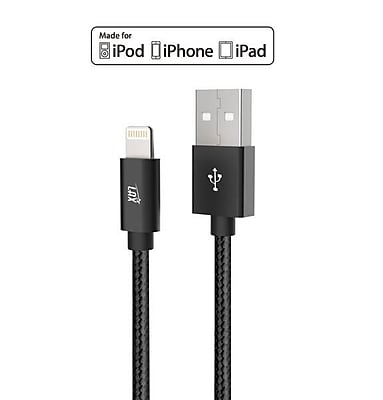 Apple Certified Durable Lightning Cable for iPhone, iPad - 6ft Black (LGHTMFI6FT-BLK)