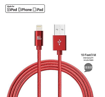 Apple Certified Durable Lightning Cable for iPhone, iPad - 10ft Red (LGHTMFI10FT-RED)