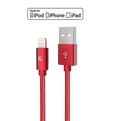 Apple Certified Durable Lightning Cable for iPhone, iPad - 6ft Red (LGHTMFI6FT-RED)