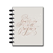 "2021-2022 The Happy Planner Academic 7.75"" x 9.75"" Weekly & Monthly Planner, Calligraphy Quotes, Rose Gold/Gray (PPCD18-018)"