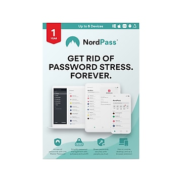 Avanquest NordPass Password Manager for 6 Devices, Windows/Mac/Android/iOS, Download (RL-0048-E)
