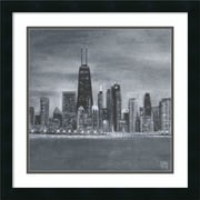 Amanti Art Framed Art Print Chicago Square by Aubree Perrenoud 22 x 22 Frame Satin Black  (DSW3893073)