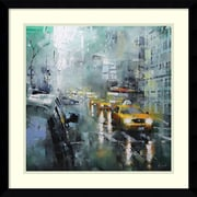 Amanti Art Framed Art Print New York Rain by Mark Lague 21 x 21 Frame Satin Black (DSW3894354)