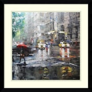 Amanti Art Framed Art Print Manhattan Red Umbrella by Mark Lague 21 x 21 Frame Satin Black  (DSW3894355)