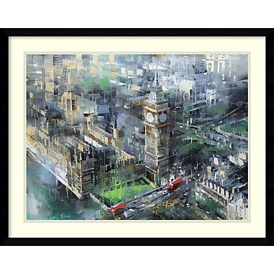 Amanti Art Framed Art Print London Green - Big Ben by Mark Lague 29 x 23 Frame Satin Black (DSW3894356) 24010977