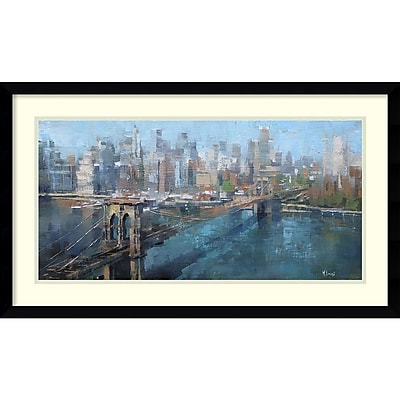 Amanti Art Framed Art Print Brooklyn Bridge by Mark Lague 29 x 17 Frame Satin Black (DSW3894357) 24010698