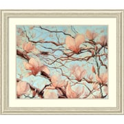 """Amanti Art Framed Art Print Outside My Window Floral by Holly Van Hart Size 41""""W x 35""""H Frame White (DSW3902393)"""