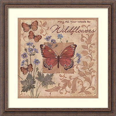 """""""""""Amanti Art Framed Art Print Butterflies and Flowers by Anita Phillips 23""""""""""""""""W x 23""""""""""""""""H, Frame Rustic Wood (DSW3902402)"""""""""""" 24010990"""