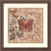 "Amanti Art Framed Art Print Butterflies and Flowers by Anita Phillips 23""W x 23""H, Frame Rustic Wood (DSW3902402)"