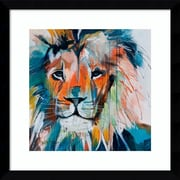 "Amanti Art Framed Art Print Do You Want My Lions Share by Angela Maritz 17""W x 17""H, Satin Black (DSW3902618)"